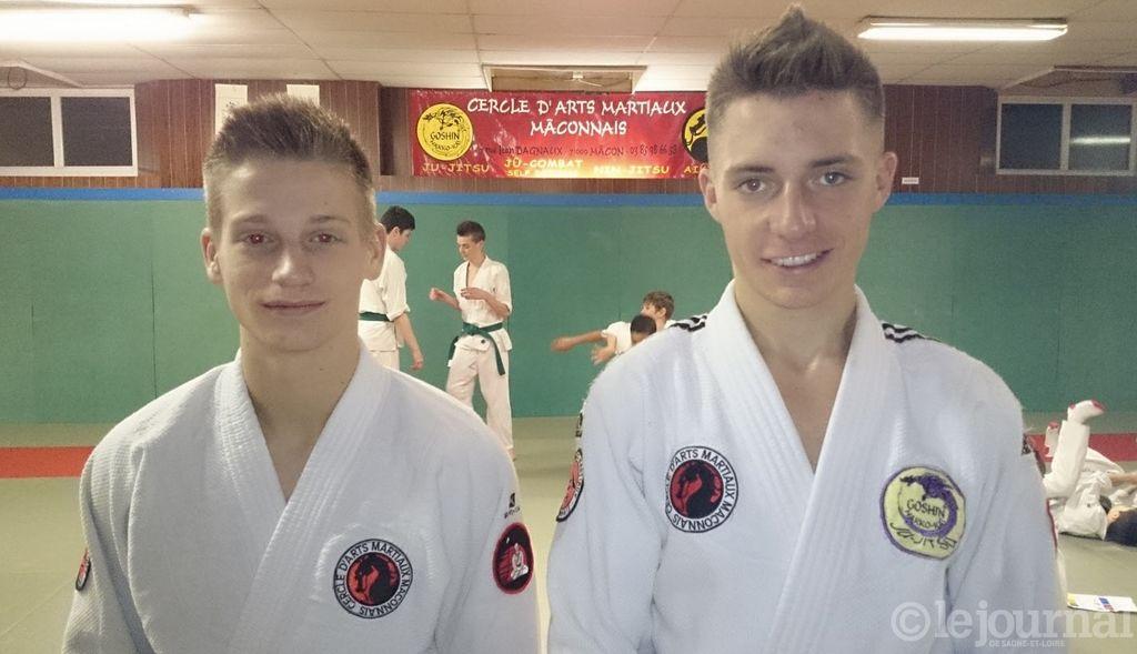 Hugo Plagniard et Karl Schneberger, nouvelles ceintures noires du Cercle d'arts martiaux.
